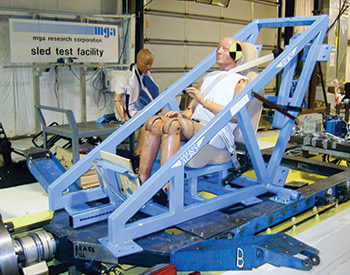 Oregon Aero High-G Safety Set being tested at the MGA research Laboratory