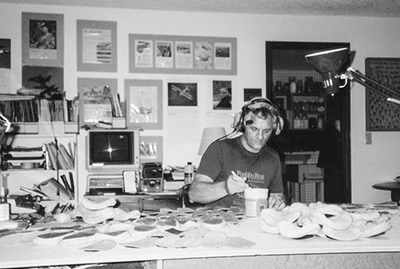 Mike Dennis, in his den, 1990, making <strong>SoftTop®</strong> Headset Cushions and test newly designed ear seals which became Oregon Aero <strong>SoftSeal®</strong> Ear Cushions.