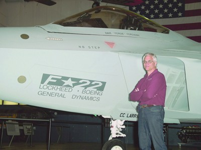 Oregon Aero Founder Mike Dennis with F-22 Raptor